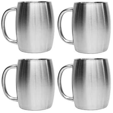 Avito Stainless Steel Coffee Mugs - 14 Oz Double Walled Insulated Coffee Beer Mugs Set of 4 by - Best Value - BPA Free Healthy Choice - Shatterproof and Spill Resistant - Thermal Cups