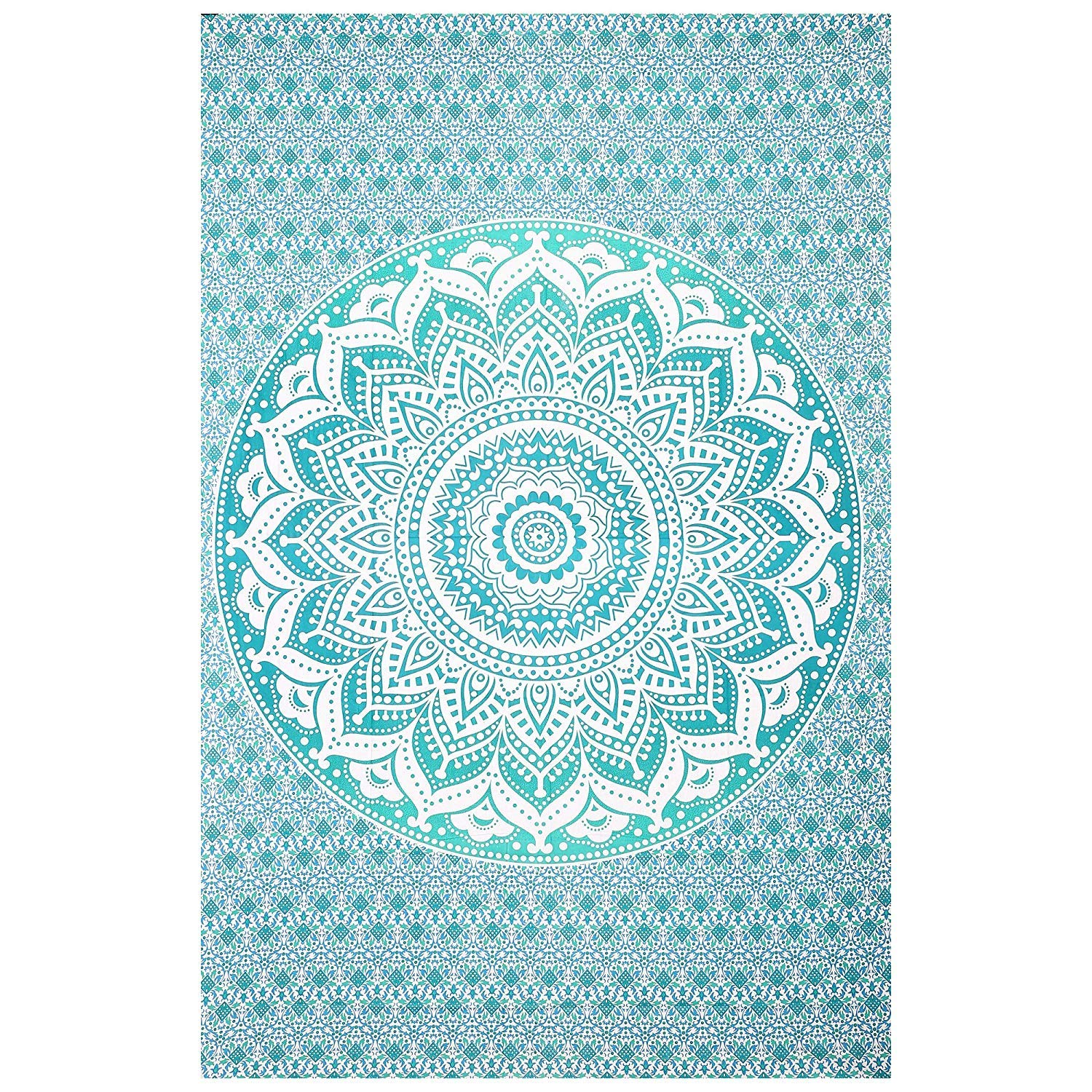 AAKARSHAN Green Ombre Tapestry Blanket Bedding Hippie Psychedelic Tapestries Bohemian Wall Tapestries Dorm Decor Twin Bedspread Bed Cover Bedding Picnic Blanket Curtain AAKRT0007