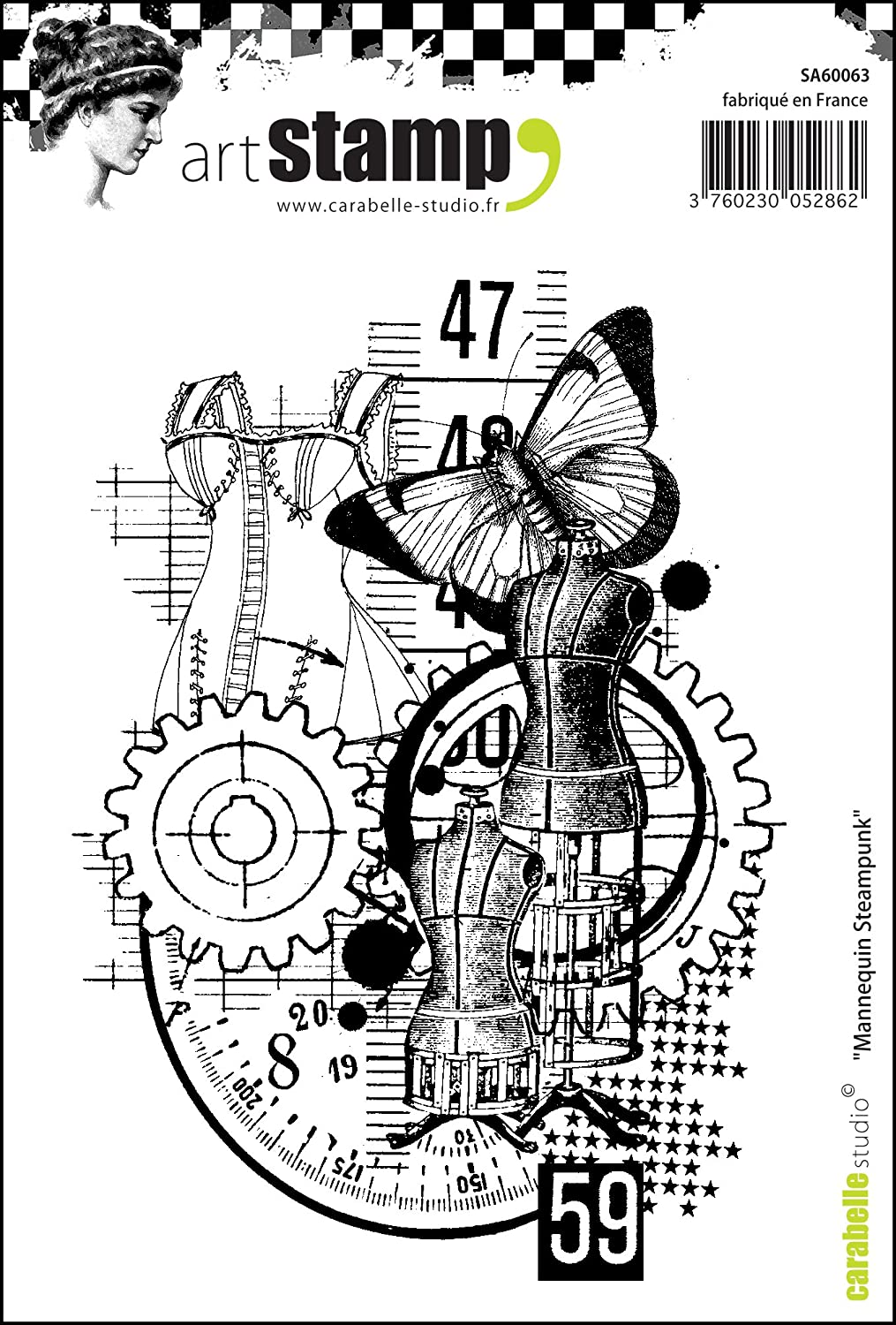 Carabelle Studio A7 Cling Stamp-Steampunk Machine Back in Time Rubber White//Transparent