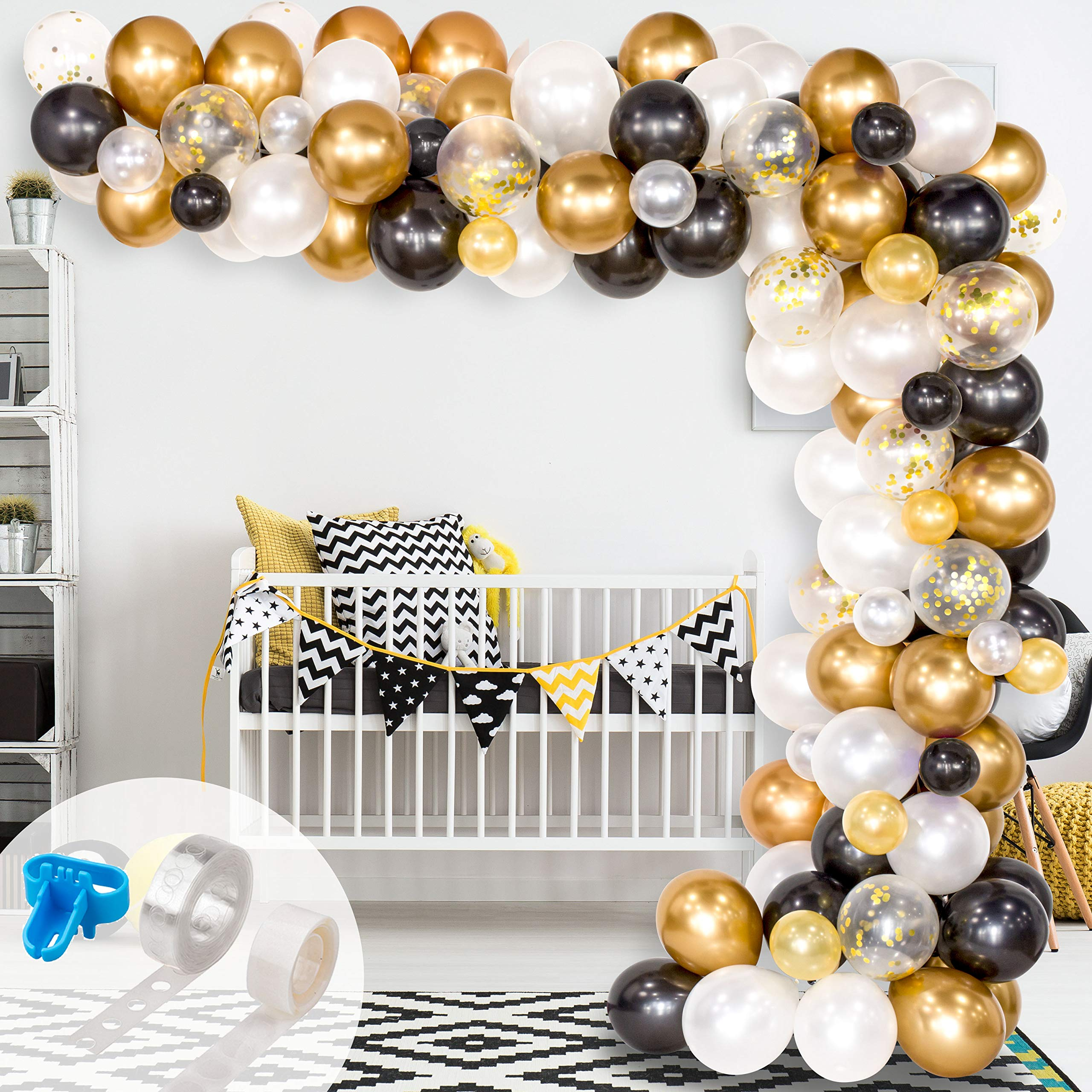 Whaline Graduation Balloon Arch & Garland Kit, 120Pcs Black, White, Gold Confetti and Metal Latex Balloons with 1pcs Tying Tool, Balloon Strip Tape and Glue Dots for Wedding Birthday Grad Party Decor