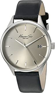 Kenneth Cole New York Mens 10029304 Classic Quartz Stainless Steel and Black Leather Dress