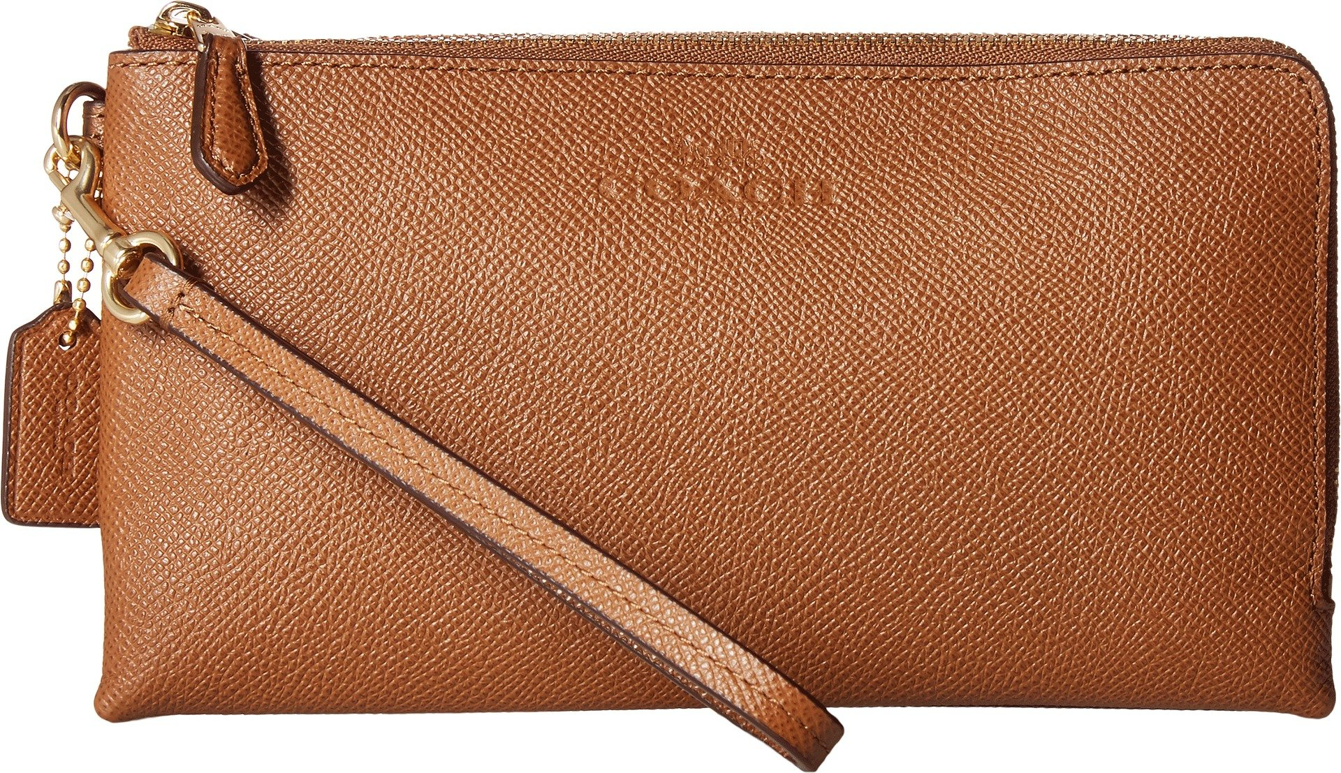 COACH Women's Pebbled Leather Double Zip Wallet Im/Saddle One Size