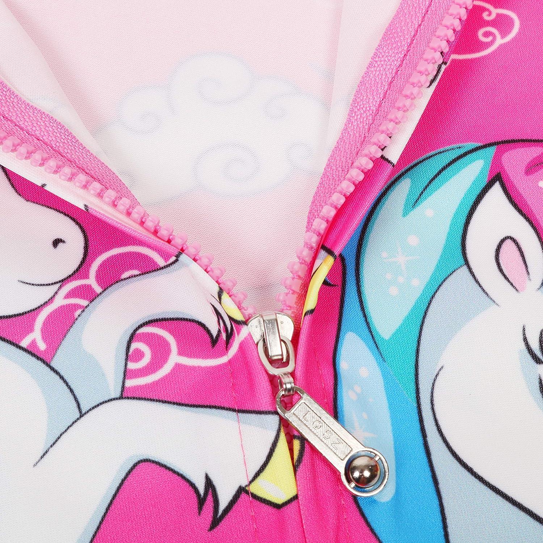 LQSZ Felpa con Cappuccio Stampato di Unicorno Carino Felpa Sottile per Bambine e Ragazze