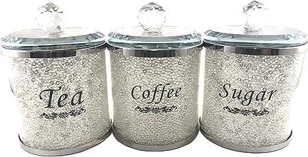 Cristal rempli plateau à thé café sucre Diamond écrasé bocaux Gold
