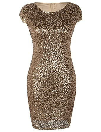 855fab788c0a PrettyGuide Women's Sequin Cocktail Dress Short Sleeve Glitter Bodycon  Formal Party Dress S Gold