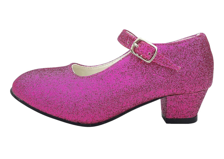 La Se/ñorita Zapato Flamenco baile Sevillanas ni/ña rosa purpurina Talla 34-22 cm