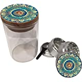 """Silver Grinder and Wood Pop off Top Jar Premium Combo pack - 4 Piece Aerospace Aluminum Metal Grinder 1.5"""" w/ Glass with air tight seal 3.5"""" Tall - Grind & Store Herbs and Spices! (Blue Mandala)"""