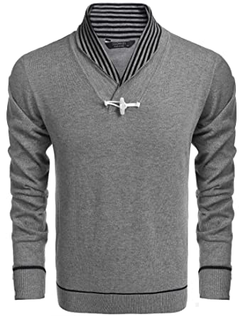 9bb8867ee9 Coofandy Mens Casual Knitted Slim Fit Shawl Collar Pullover Sweaters With  One Button Decoration Gray Small