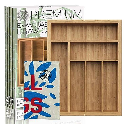 Organizador de cajones expandible de bambú, bandeja ...