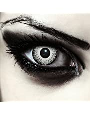 """Designlenses Vampir farbige Kontaktlinsen für Halloween""""White Fear"""" + gratis Kontaktlinsenbehälter (innerhalb Dt.), schwarz/weiß, Ohne Sehstärke, 2 Stück"""