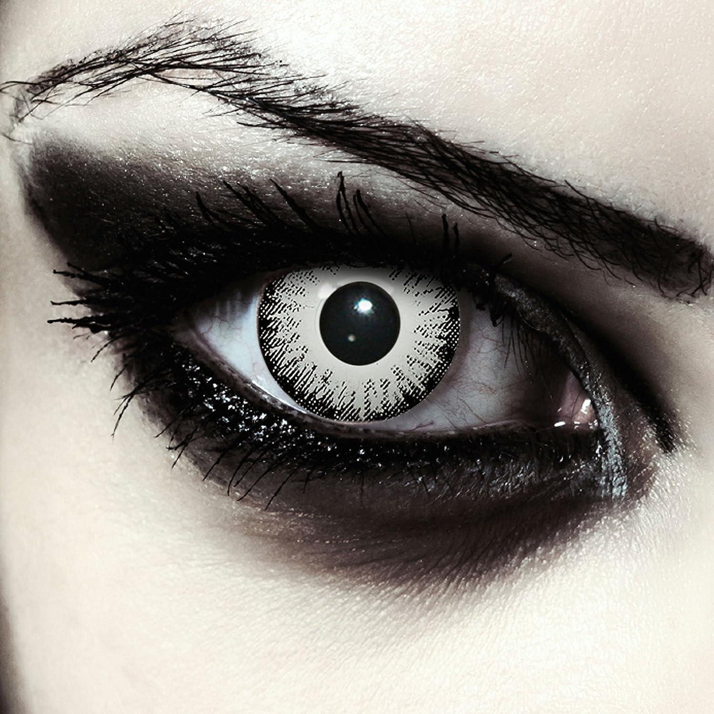 """Designlenses, Dos lentillas de color blanco y negro para Halloween zombie disfraz lentillas sin dioprtías/corregir + gratis caso de lente """"White Fear"""