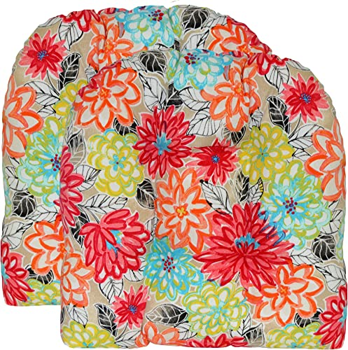 RSH D cor Indoor Outdoor 2 pk Wicker Patio Chair Seat Cushion Pillow Water Resistant Pad Bright Artistic Floral Fabric U-Shape 21 x 21 Yellow Orange Blue Pink