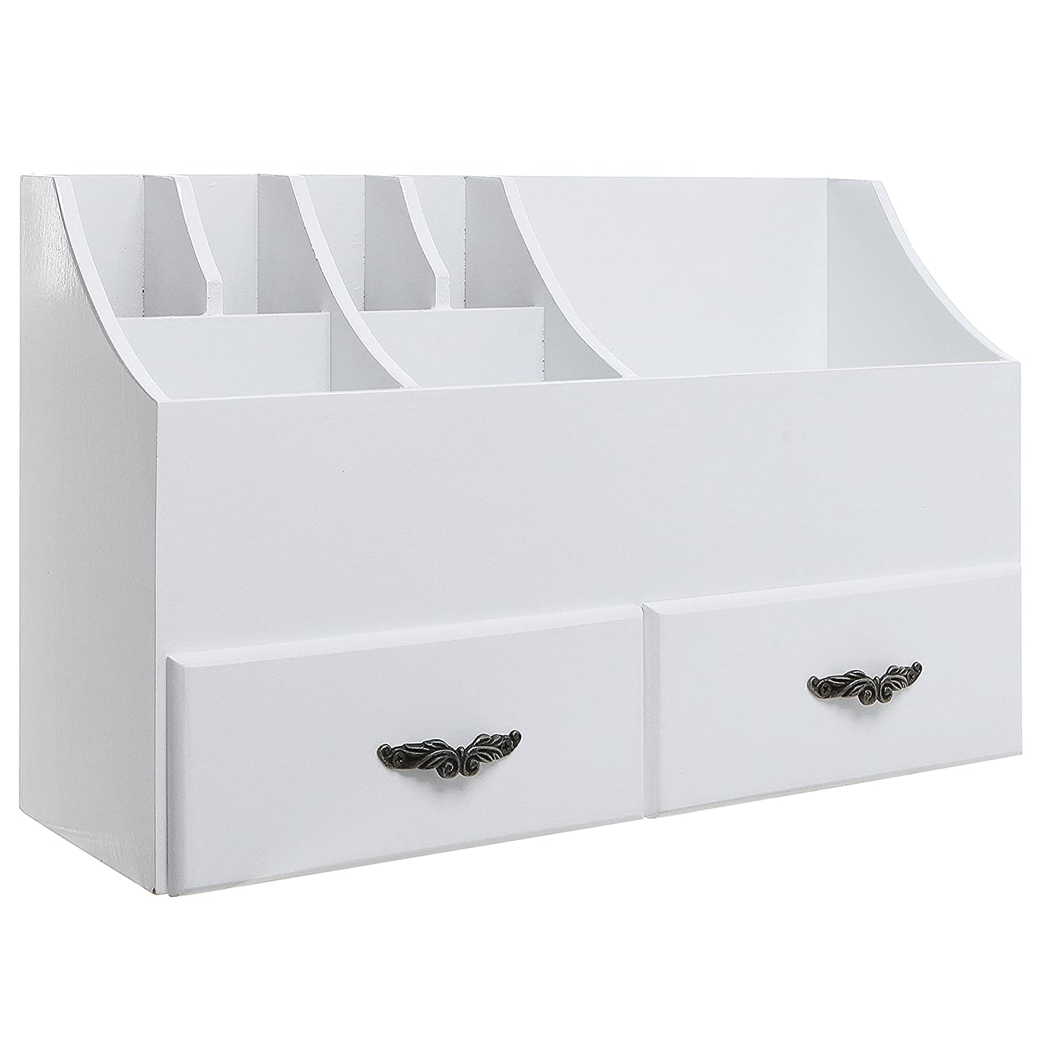 MyGift Shabby Chic White Wood Cosmetics Organizer/Makeup & Beauty Accessories Storage Rack w/Drawers