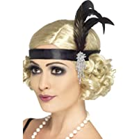 Smiffy's Adult Women's Satin Charleston Headband with Feather and Jewel Detail, Black, One Size, 5020570238936