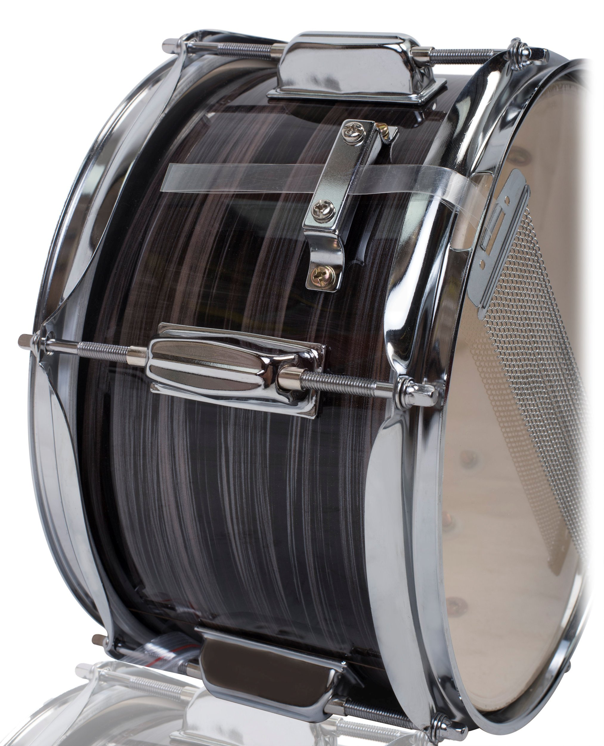 Popcorn Snare Drum by Griffin | Firecracker 10'' x 6'' Poplar Shell with Zebra Wood PVC|Soprano Concert Percussion Musical Instrument with Drummers Key and Deluxe Snare Strainer|Beginner & Professional by Griffin (Image #3)