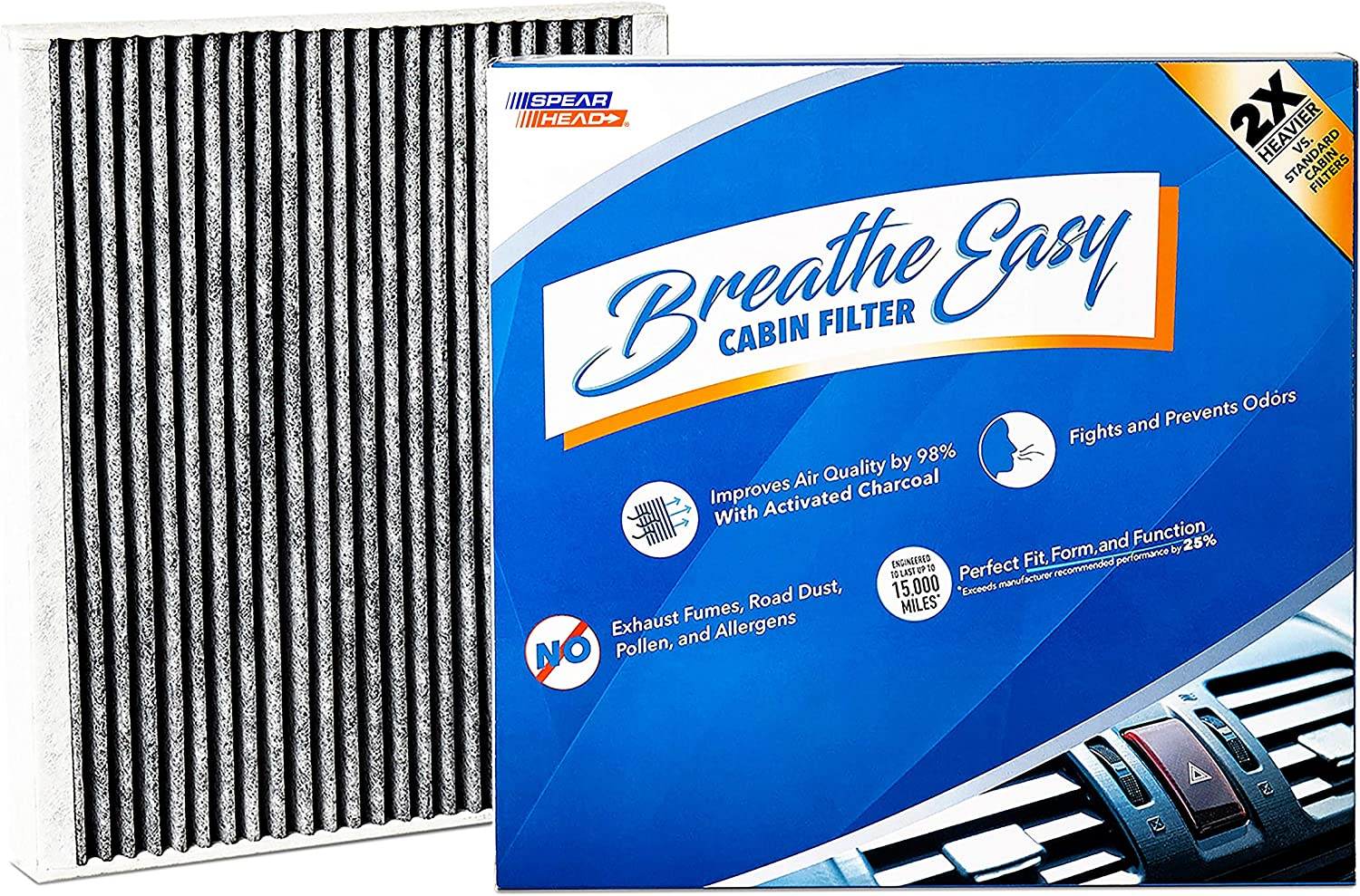 Spearhead Premium Breathe Easy Cabin Filter, Up to 25% Longer Life w/Activated Carbon (BE-728)