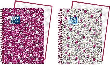 Oxford Floral - Pack de 5 cuadernos en espiral, tapa extradura, A5+: Amazon.es: Oficina y papelería