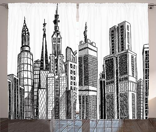 Ambesonne Fabric Curtains 2 Panel Set, Urban Arhitecture Sketch Skyscraper Metropolis Grunge Handdrawn Modern City Scenery, Living Room Bedroom Decor, 108 W X 84 L Inches, Black White