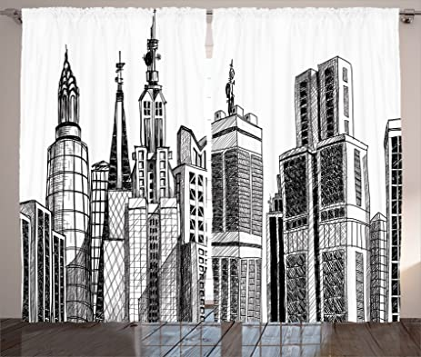 Fabric Curtains 2 Panel Set By Ambesonne Urban Arhitecture Sketch Skyscraper Metropolis Grunge Handdrawn Modern