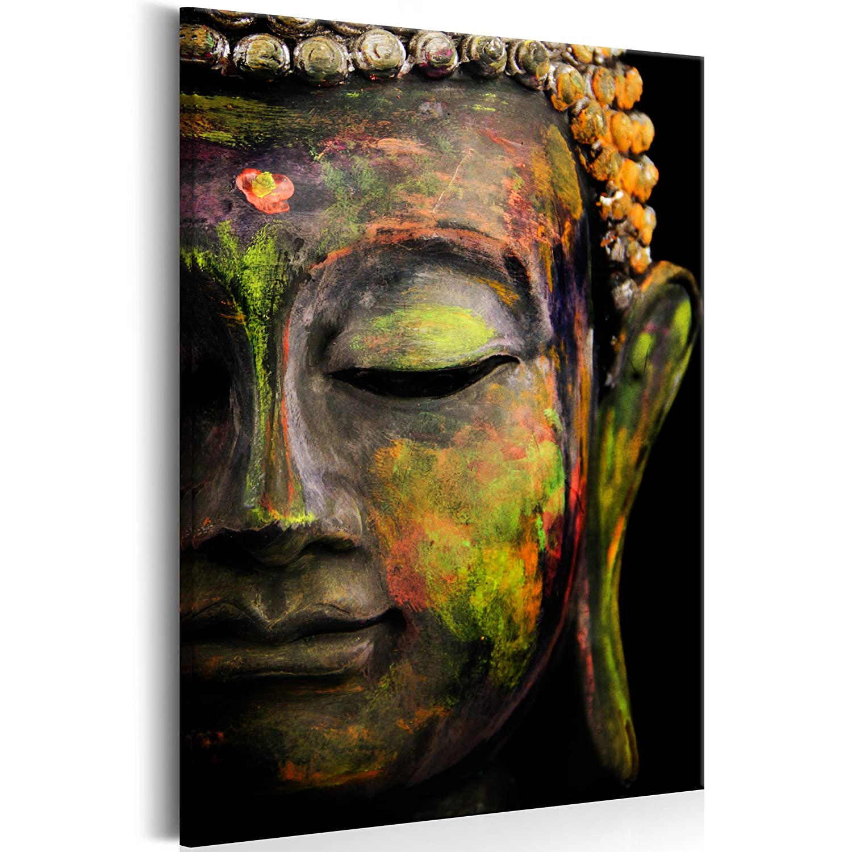 decomonkey Akustikbild Budda 60x90 cm 1 Teilig Bilder Leinwandbilder Wandbilder XXL Schallschlucker Schallschutz Akustikdämmung Wandbild Deko leise Buddhismus Buddha