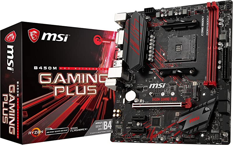 MSI Performance Gaming AMD Ryzen 1st and 2nd Gen AM4 M.2 USB 3 DDR4 DVI HDMI Micro-ATX Motherboard (B450M Gaming Plus), mATX