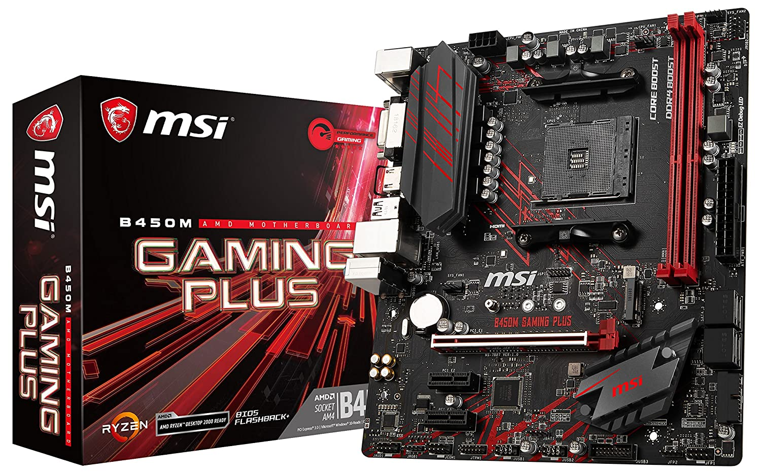 MSI Performance Gaming AMD Ryzen 1st and 2nd Gen AM4 M.2 USB 3 DDR4 DVI HDMI Micro-ATX Motherboard (B450M Gaming Plus), mATX