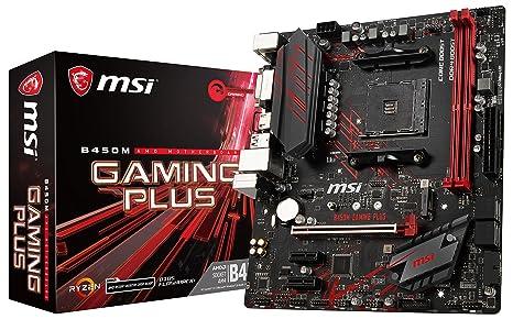 MSI Performance Gaming AMD Ryzen 1st and 2nd Gen AM4 M.2 USB 3 DDR4 DVI HDMI Micro-ATX Motherboard (B450M Gaming Plus)