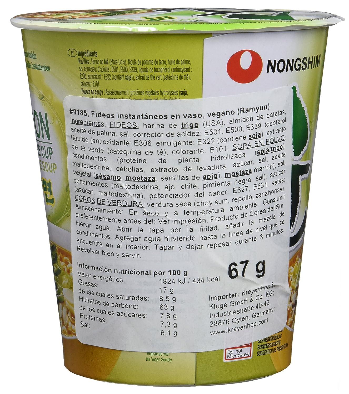 Nong Shim Fideos Instantáneos en Vaso, Vegano - 12 Unidades: Amazon.es: Alimentación y bebidas