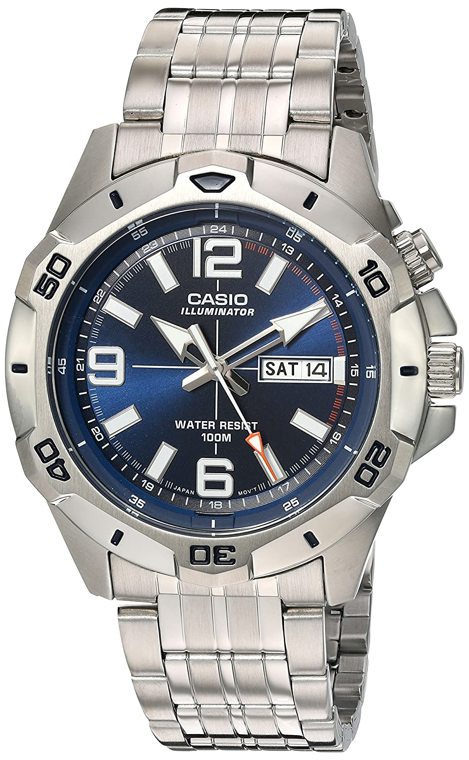 Casio Men s Sports Quartz Watch with Stainless-Steel Strap, Silver, 22 Model MTD1082D-2AVCF