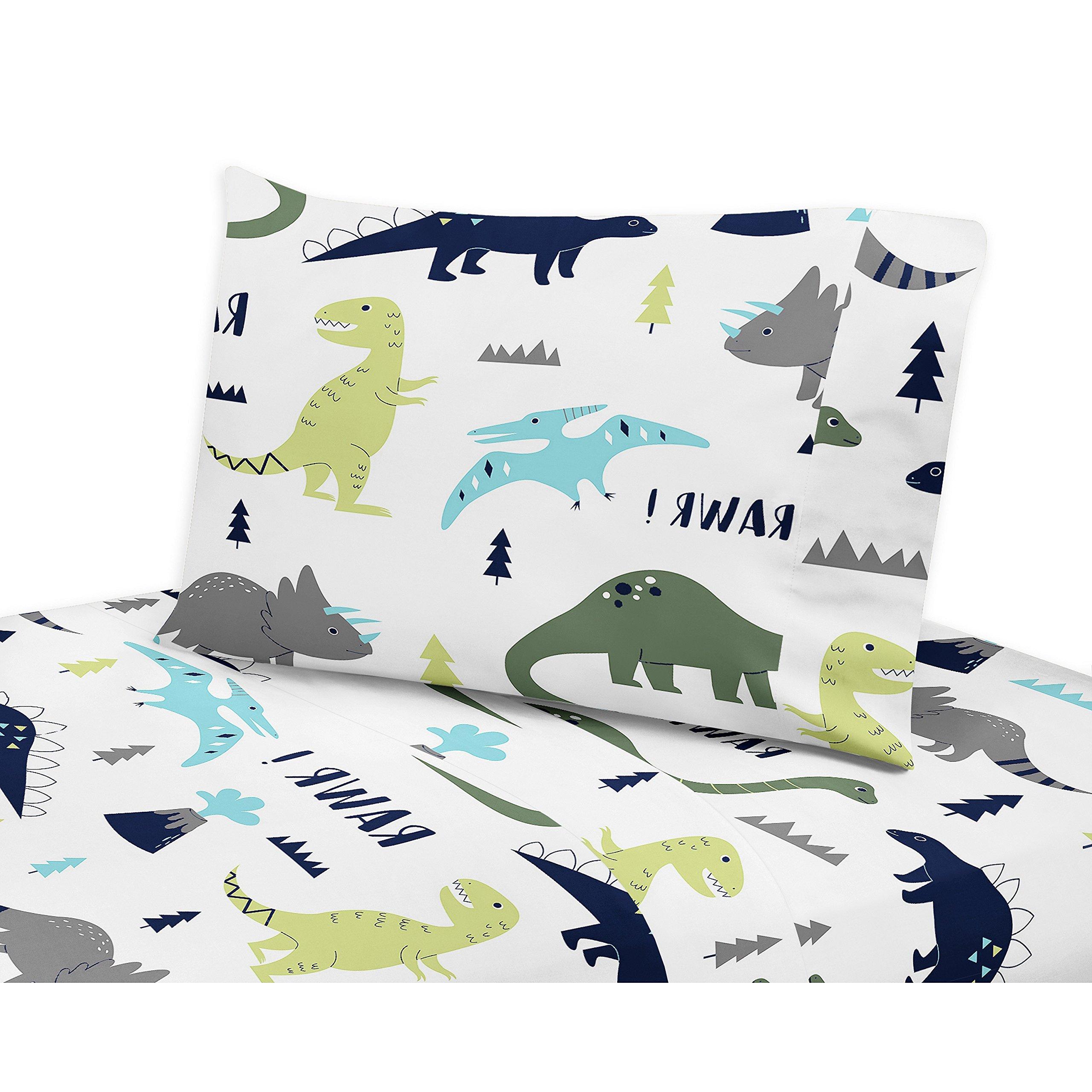 4 Piece Rawring Mod Dinosaur Patterned Sheet Set Queen Size, Featuring Printed Bold Vibrant Dinosaurs Bedding, Extinct Nature Animals, Safari Cute Dino Figure Wildlife Jungle Kids Bedroom, Multicolor