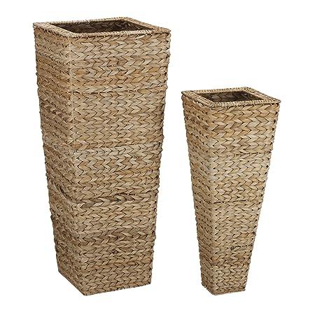 Household Essentials Decorative Wicker Tapered Floor Vase Set Of 2