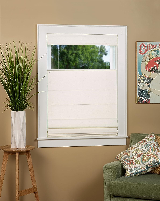 Color Linen Blend Blackout Cordless Roman Shade Size 27 W x 63 L Linen Green Mountain Vista
