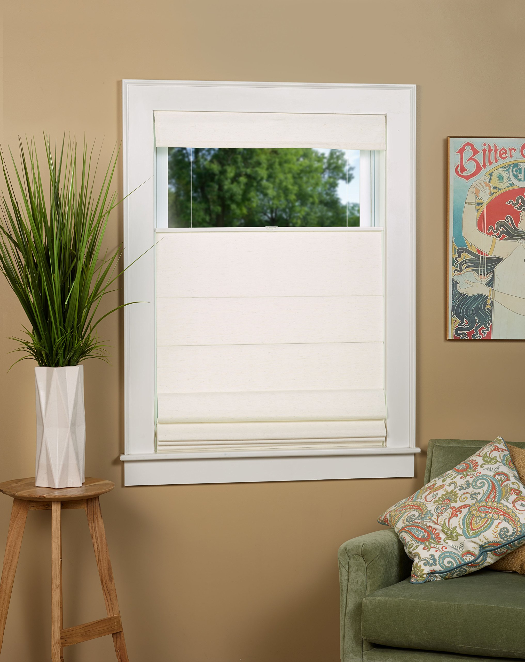 North Country Window Wear Cordless Thermal Backed Top Down Bottom Up Roman Shade 34'' W x 64'' L - Color: Alabaster by North Country Window Wear