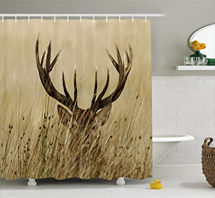 Antler Decor Shower Curtain by Ambesonne, Whitetail Deer Fawn in Wilderness  Stag Countryside Rural Hunting