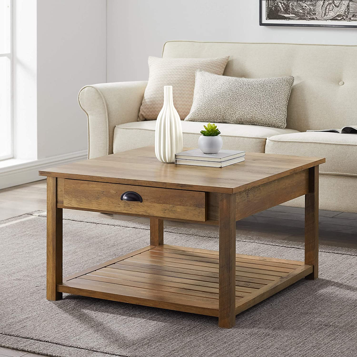 Walker Edison Modern Country Square Coffee Table Living Room Accent Ottoman Storage Shelf, 30 Inch, Reclaimed Barnwood