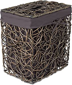 BIRDROCK HOME Decorative Willow Laundry Hamper with Liner - Woven Wooden Laundry Basket - Wicker Reed Frame and Lid - Removable Liner - Dirty Clothes Storage - Charcoal Grey