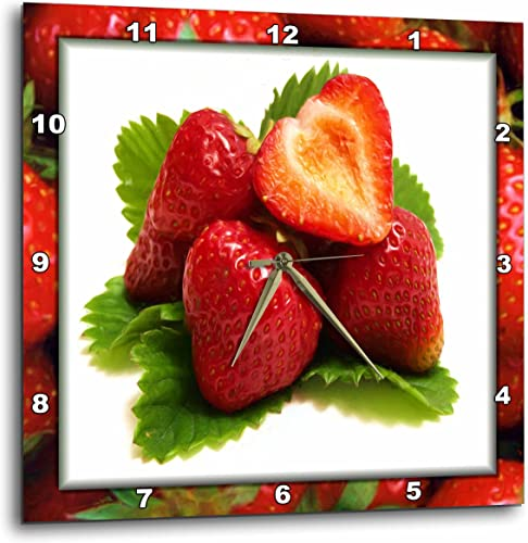 3dRose Painted Strawberries on Strawberries – Wall Clock, 15 by 15 DPP_48106_3