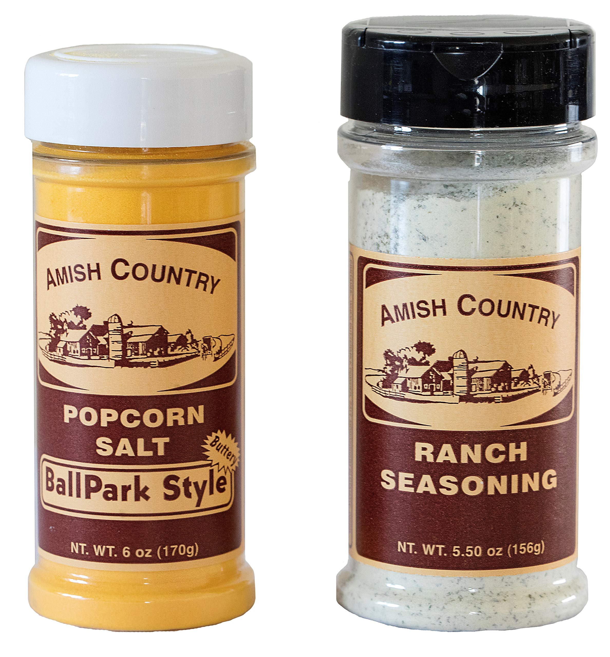 Amish Country Popcorn - BallPark Style ButterSalt (6 Oz) & Ranch (5.5 Oz) Popcorn Seasoning - Old Fashioned with Recipe Guide