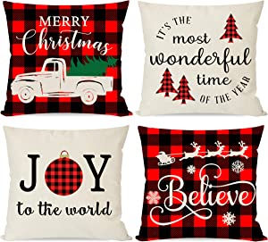PANDICORN Christmas Pillows Covers 18x18 Set of 4 for Christmas Decor, Black and Red Buffalo Check Plaid Christmas Decorations Trees Truck, Holiday Throw Pillows Cases for Home Couch Outdoor