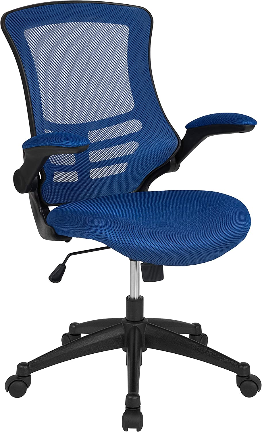 Flash Furniture Mid-Back Blue Mesh Swivel Ergonomic Task Office Chair with Flip-Up Arms, BIFMA Certified