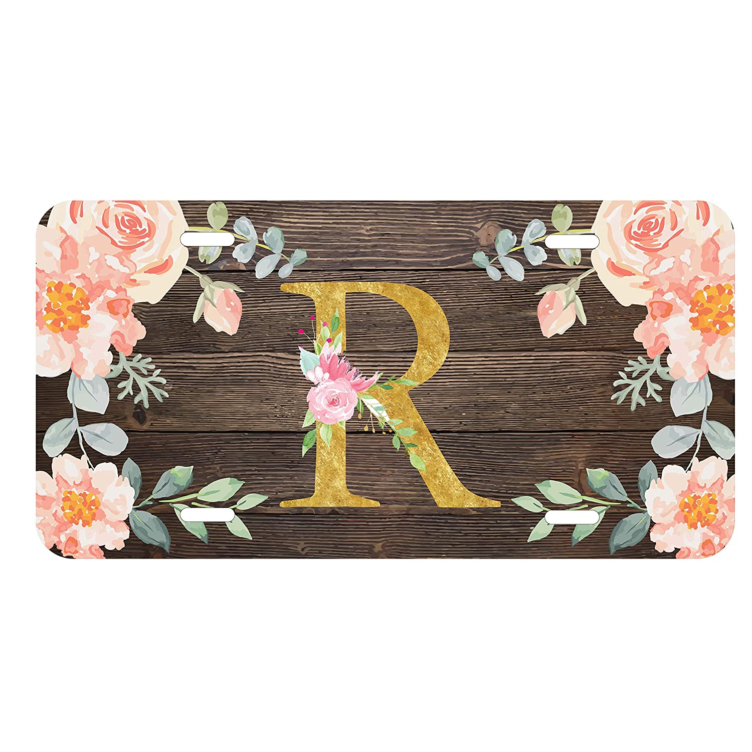 Front car tag Customize Plate and keychain Monogram gift Floral car tag Monogrammed car tag License plate Pink /& Gold Car tag