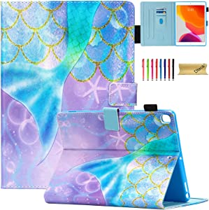 Dteck iPad 10.2 8th/7th Generation Case - Slim Fit Premium PU Leather Folding Stand Smart Shockproof Cover with Pencil Holder, Auto Wake/Sleep, Wallet Pocket, Beautiful Mermaid
