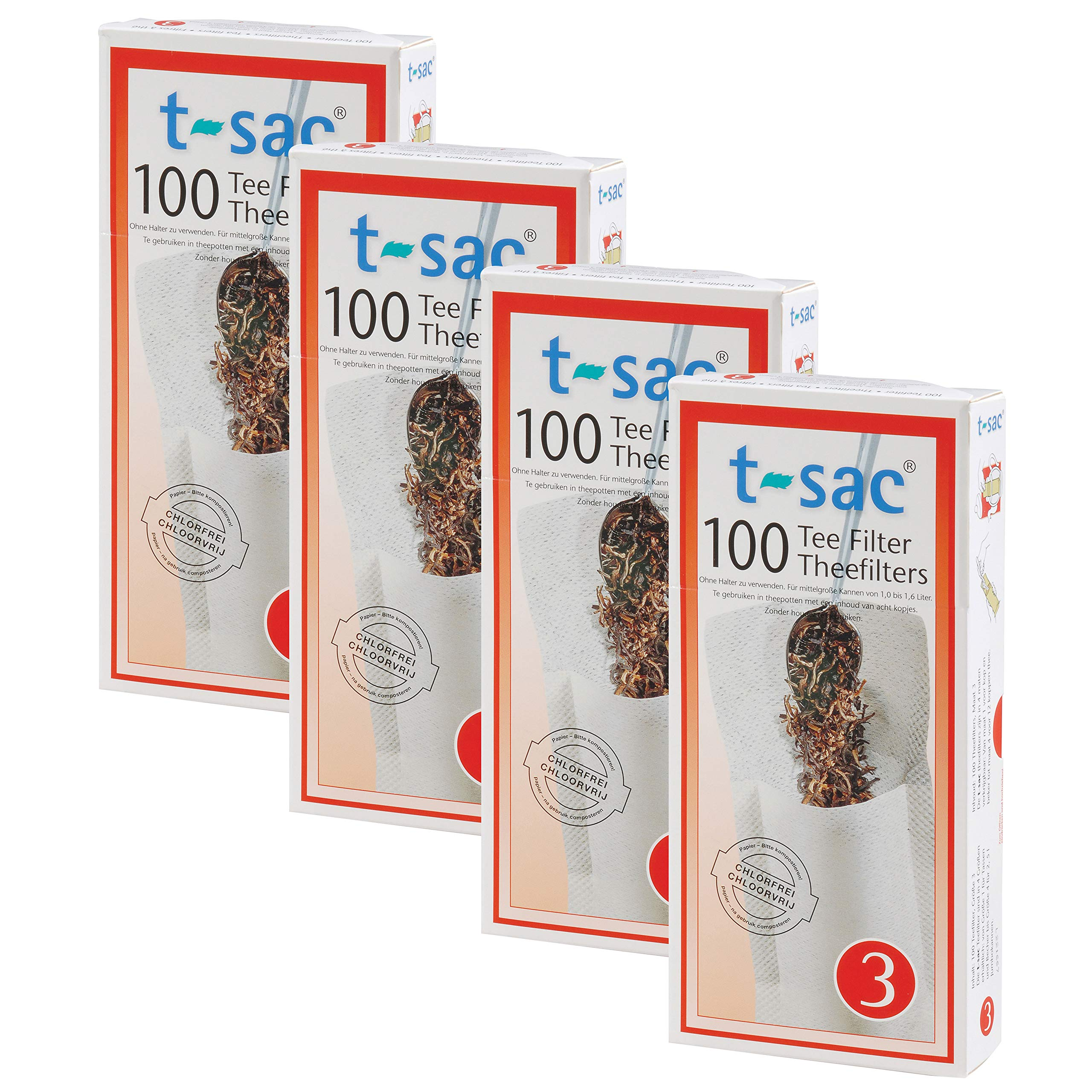 T-Sac Tea Filter Bags, Disposable Tea Infuser, Number 3-Size, 3 to 8-Cup Capacity, Set of 400 by T-Sac