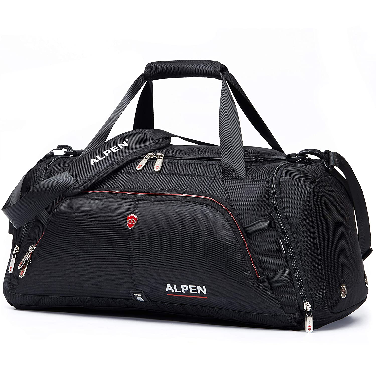 Swiss Alpen – Cervino Duffel – Water Resistant Durable 1680D Carry On Travel Duffel Bag Gym Sports Bag with Shoes Compartment – 10.5 Gallons – 40 Liters – Black Exclusive