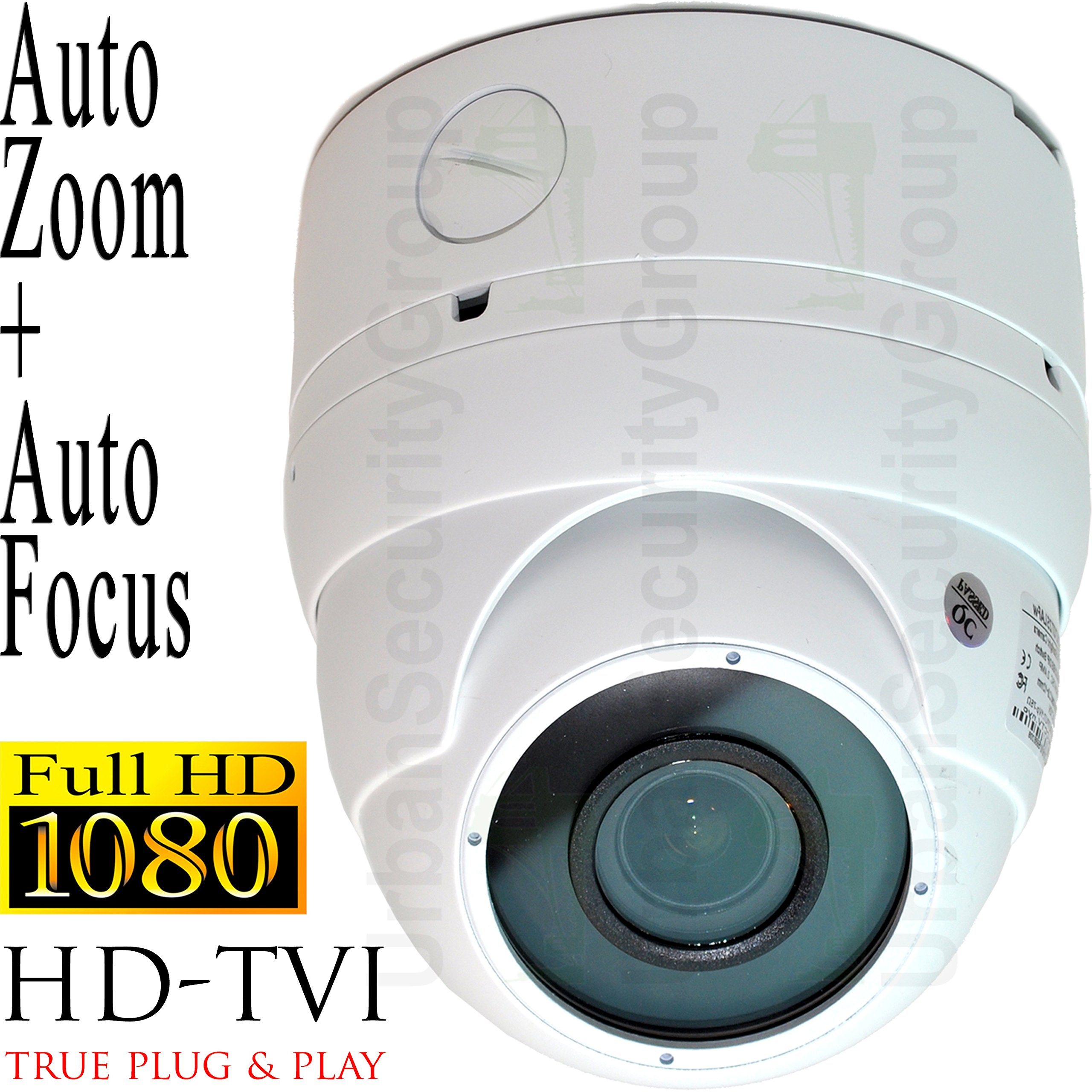 USG 2017 Sony Starvis StarLight DSP Motorized Lens 1080P 2MP High Definition CCTV Dome Security Camera : 150dB WDR : 2.8-12mm Remote Zoom & Auto-Focus Lens : TVI, CVI, AHD and Analog Format