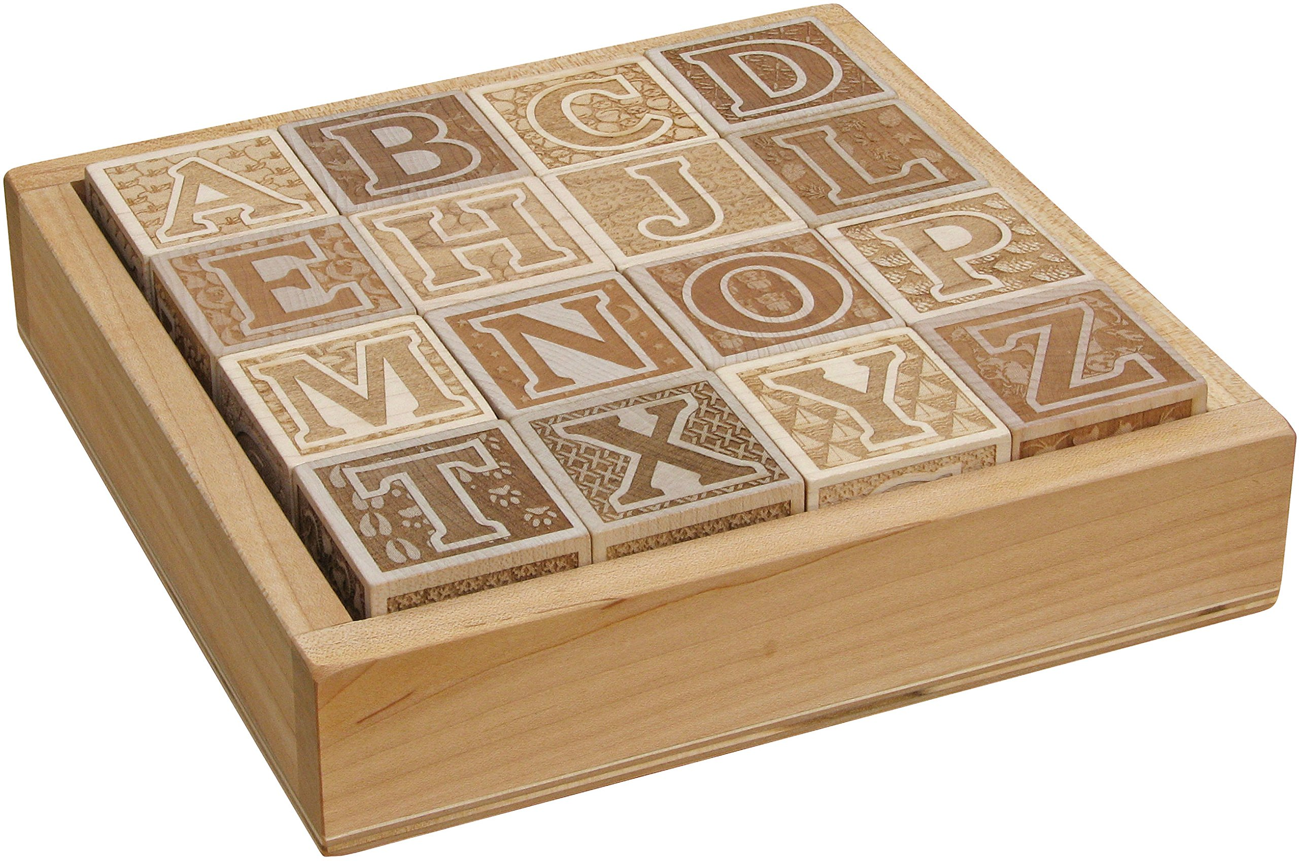 Natural Wooden ABC Blocks in Tray - Made in USA