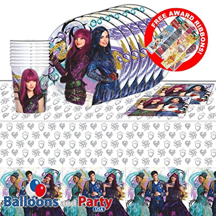 Disney Princess Descendants 2 Birthday Party Tableware Pack Kit For 8