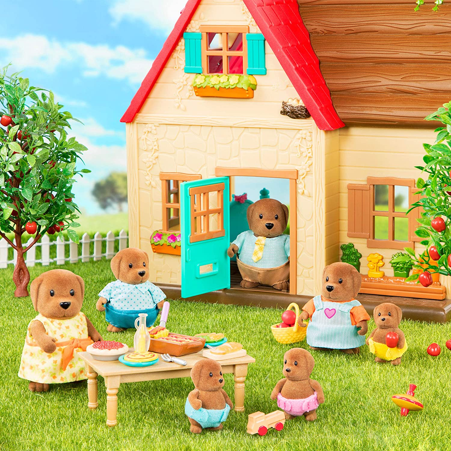 7pc Set with Miniature Figurines Animal Toys and Accessories for Kids Age 3+ Lil Woodzeez WZ6577Z Large Grandparents Wagadoodle Dog Family