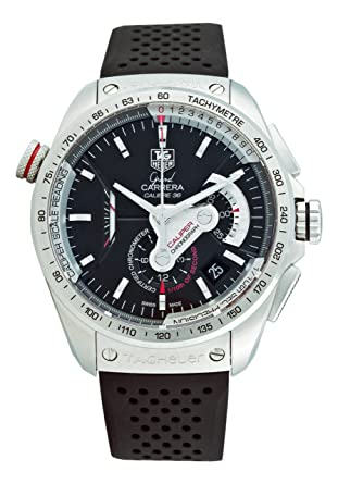 tag heuer menu0027s grand carrera automatic chronograph black dial watch