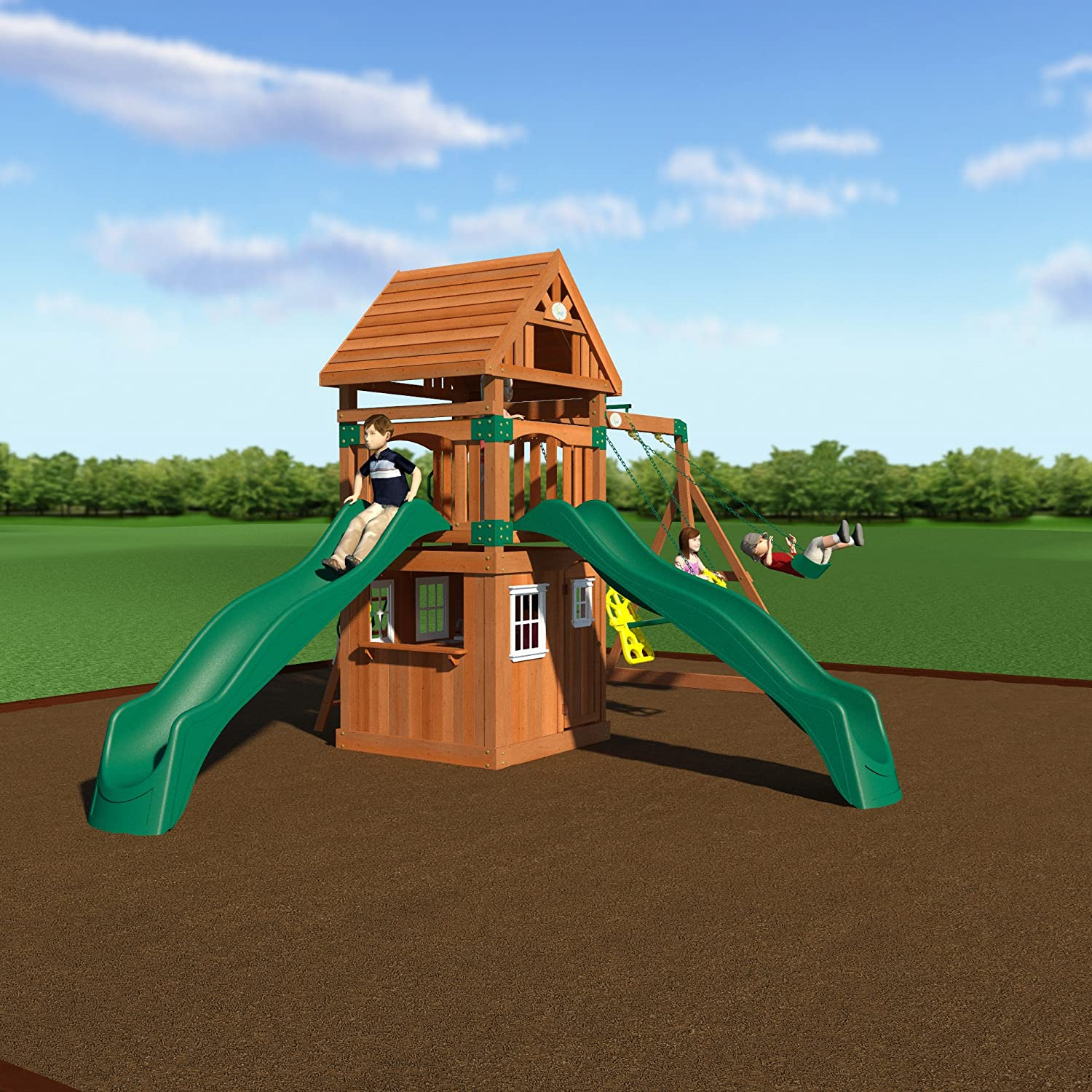 amazon com backyard discovery outing all cedar wood playset swing